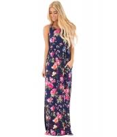 ネイビー 花柄 袖なし ロング ボヘミアン ドレス cc61531-105