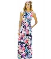 絵画花柄 袖なし ロング ボヘミアン ドレス cc61531-22