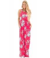 フクシア 花柄 袖なし ロング ボヘミアン ドレス cc61531-3
