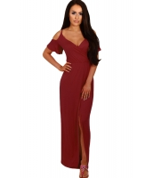 ワインレッド コールドショルダー ロング ジャージー ドレス cc61546-3