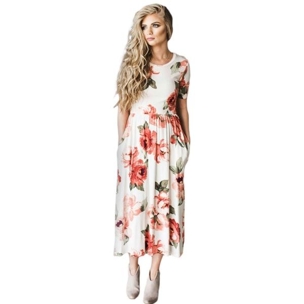 カジュアル デザインポケット ホワイト 花柄 ドレス cc61550-14
