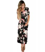 カジュアル デザインポケット ブラック 花柄 ドレス cc61550-2
