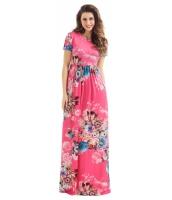 ポケット デザイン 半袖 ウォーターメロン レッド 花柄 マキシ ドレス cc61560-3