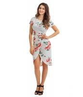 シック サイド結び ラップ ホワイト 花柄 ドレス cc61563-1