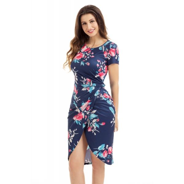 シック サイド結び ラップ ネイビー ブルー 花柄 ドレス cc61563-5