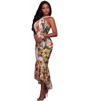 クロス ネック キーホール フロント 花柄 マーメイド ドレス cc61575-22