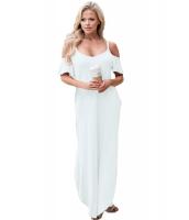 ホワイト サッシー オープンショルダーマキシ ドレス cc61588-1