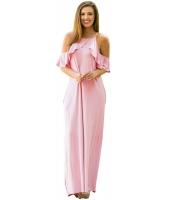ダスティ ピンク フリル 袖 コールドショルダー マキシ ドレス lc61590-10