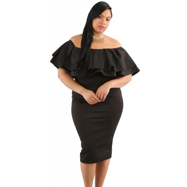 ブラック 多層フリル オフショルダー 曲線美 ドレス cc61611-2p