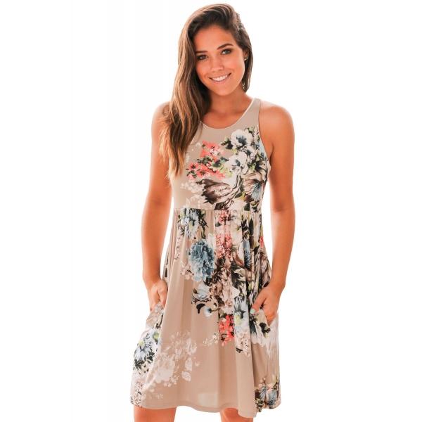 愛の花柄 ボヘミアン ドレス ライトブラウン cc61612-17