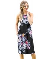 カワイイ 花柄 ボヘミアン ドレス ブラック cc61612-2