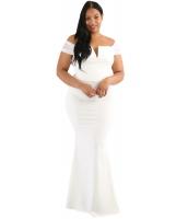 ホワイト 大きいサイズ シーア スリーブ カラム ドレス cc61613-1