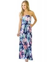 大きい盛夏の花 ベアトップ マキシドレス ポケット付き cc61614-105