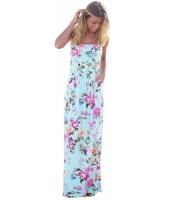 ブルー 自由奔放 花柄 ノーストラップ マキシ ドレス ポケット lc61614-109