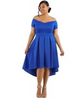 ブルー 大きいサイズ オフショルダー スイング ドレス lc61618-5p