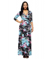 ブラック ブルー 花柄 ラップ ロング ボヘミアン ドレス cc61631-102