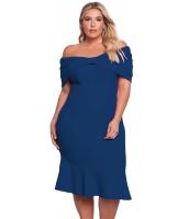 ブルー 大きいサイズ オフショルダー マーメイド ミディ ドレス lc61633-5