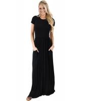 ブラック 半袖 シャーリング ウエスト マキシ ドレス lc61635-2