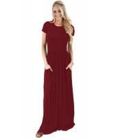 ワインレッド 半袖 シャーリング ウエスト マキシ ドレス lc61635-3