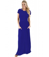 ブルー 半袖 シャーリング ウエスト マキシ ドレス lc61635-5