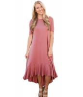 なだらか フリル 半袖 カジュアル ドレス cc61641-1010