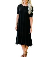 ブラック なだらか フリル 半袖 カジュアル ドレス cc61641-2