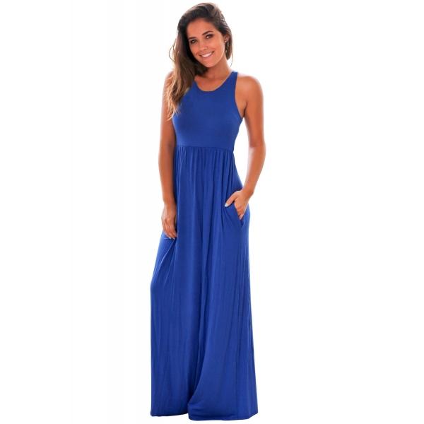 ブルー マキシドレス ポケット付き cc61647-5