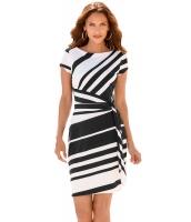 ブラック ホワイト ストライプ 結び目 シース ドレス lc61657-2