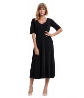 ブラック 半袖 Vネック ハイウエスト フレア ドレス cc61659-2