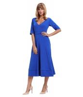 ブルー 半袖 Vネック ハイウエスト フレア ドレス cc61659-5