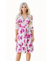 フクシア 花柄 ホワイト ラップ 花柄 ドレス cc61682-6