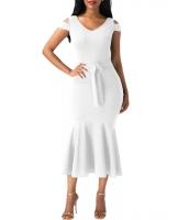 ホワイト コールドショルダー 装飾リボン マーメイド ドレス cc61686-1