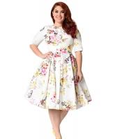 ホワイト ビンテージ スタイル 花柄 半袖 スウィング ドレス cc61702-1
