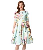 ミント ビンテージ スタイル 花柄 半袖 スウィング ドレス cc61702-109