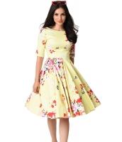 イエロー ビンテージ スタイル 花柄 半袖 スウィング ドレス cc61702-7