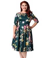 碧玉 ビンテージ スタイル 花柄 半袖 スウィング ドレス cc61702-9