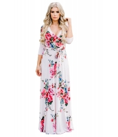 ホワイト ブルーミング 花柄 ラップ Vネック ボヘミアン ドレス cc61712-1