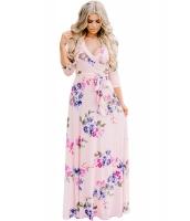 ピンク ブルーミング 花柄 ラップ Vネック ボヘミアン ドレス cc61712-10