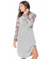 グレー 花柄袖 切替 フード付き ドレス cc61720-11
