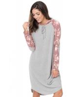レッド 花柄袖 切替 フード付き ドレス cc61720-3