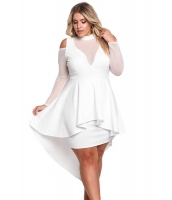 ホワイト 大きいサイズ メッシュ ハイロー ペプラム ボディコン ドレス cc61727-1