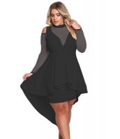 ブラック 大きいサイズ メッシュ ハイロー ペプラム ボディコン ドレス cc61727-2