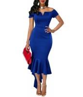 ネイビー ブルー オフショルダー 半袖 マーメイド ドレス cc61738-5