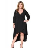 ブラック フリル ラップ 大きいサイズ ハイロー ドレス cc61759-2