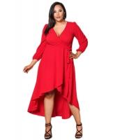 レッド フリル ラップ 大きいサイズ ハイロー ドレス cc61759-3