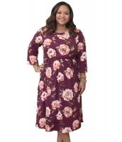 パープルレッド 花柄 大きいサイズ ドレス cc61771-3