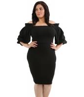 ブラック プリーツ ショルダー 大きいサイズ ボディコン ドレス cc61781-2