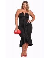 ブラック 大きいサイズ ベアトップ カスケーディング フリル ハイロー ドレス cc61784-2
