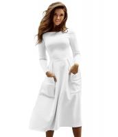 ホワイト バトーカラー カジュアル 大きい ポケット スケータードレス cc61799-1