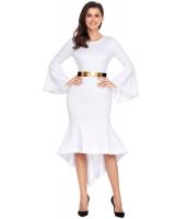 ホワイト ワイド袖 ディップ裾 ベルト付き ドレス cc61802-1